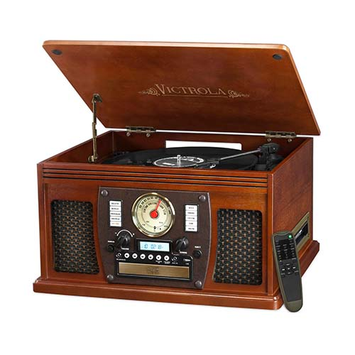 Victrola Wooden 8-in-1 Bluetooth Turntable